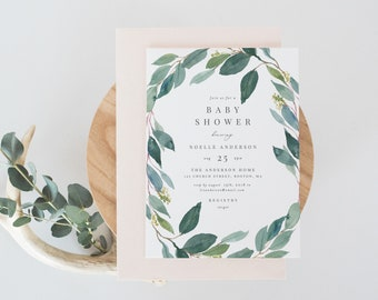 Editable Template - Instant Download Leafy Baby Shower Invitation