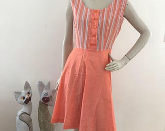 Vintage 60s/70s Orange Sherbet Day Dress M