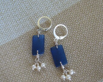Cobalt Blue Tumbled Glass Earrings with Fresh Water Pearl Dangles