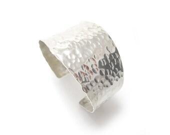 Hammered Silver Cuff - Wide Nickel Cuff Bracelet - Tapered Silver Cuff - Textured Nickel Silver Cuff Bracelet - Hammered Metal Bracelet Cuff