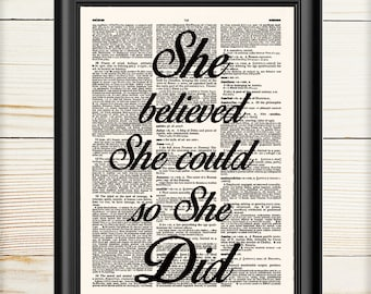 Typography Print, She Believed She Could, Typography Art, Inspirational, Motivational Print, Office Decor, 009