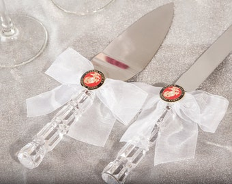 Military Wedding Cake Server Set - Air Force - Navy - Army - Marines - Custom Engraving Available - 550089