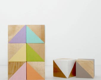Painted Wood Blocks Set - Pastel Rainbow