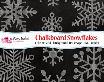 Chalkboard Snowflakes clipart. Digital clip art. Commercial & personal Use. Instant Download.PNG chalk snow clipart winter clipart Christmas