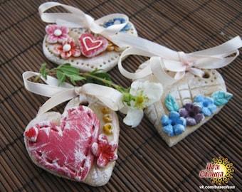 Heart Pendant Shabby Chic Wedding Valentine's Day Gift Salt Dough Ornament