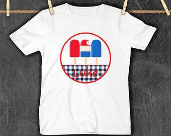 Boy's personalized 4th of the July Shirt, Popsicles 4th of July tee, All American Boy Shirt, Personalized 4th Tee, Monogrammed Shirt