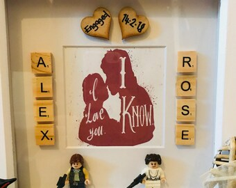 Star Wars themed scrabble frame, ideal wedding, engagement, couples gift