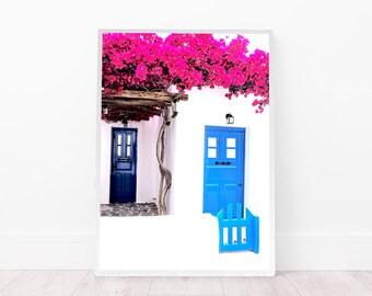 Blue Door wall art, Santorini art Print, Greece Photography, bougainvillea print, Greek door printable art, Mediterranean island digital art