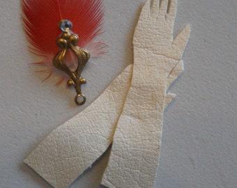Miniature Luxury Accessories; Feather Fan, Kid Opera Gloves