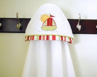 hooded towel sailboat applique child towel