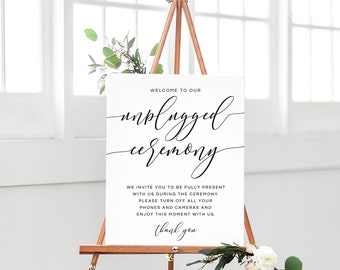 Unplugged Ceremony Sign, Unplugged Wedding Sign Template, Unplugged Ceremony Sign Printable, Unplugged Wedding Poster, Unplugged Wedding