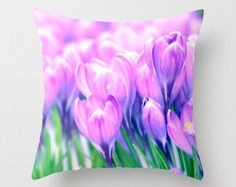 Pretty Purple Crocus, Spring is Here, Fine Art Photography, Floral Home Decor, Flower Throw Pillow,  Abstract Decor, Accent Pillow, Garden