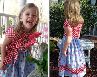 Garden Party Dress - Ellie Inspired Pleated Cap Sleeves Lined Dress PDF pattern  - sizes 1-12