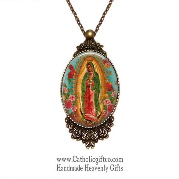 Our Lady of Guadalupe Necklace with 18 or 24 inch chain - Catholic Necklace - Bronze setting framed in roses