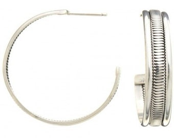 Navajo Silver Hoop Earrings Handcrafted Post Style Native American Jewelry