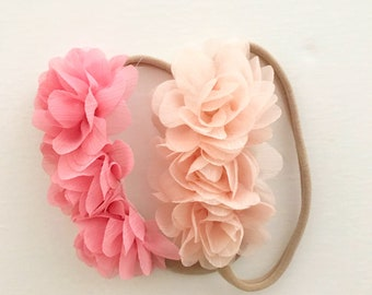 Pink heabnd  | Set of two headbands  |  Baby Headband | Pink Flower Headband | Baby Girl Headband | Birthday headband