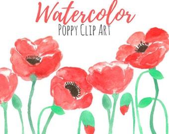Poppy  Flower Clip art - Floral Clip Art - Watercolor Art - Watercolor Clip Art Commercial Use