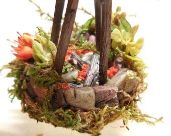 Miniature Fairy Campfire| Woodland Camping Miniatures Fairy Gardens, Terrariums, Miniature Forest Dioramas| Fairy Garden Supplies