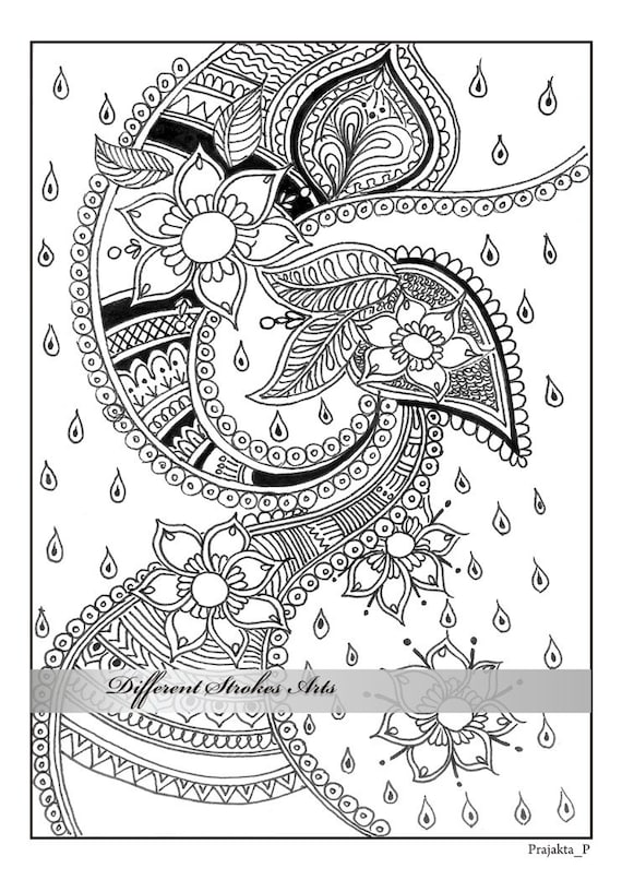 Items similar to adult coloring pages, henna art ...