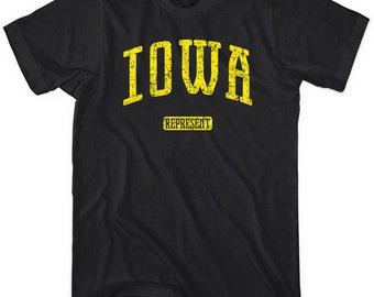Iowa Represent T-shirt - Men and Unisex - XS S M L XL 2x 3x 4x - Iowa Tee - 4 Colors