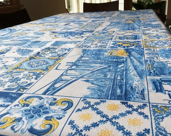Portuguese Tiles Azulejos RECTANGLE 100% Cotton Twill Tablecloth; Made in Portugal, Ships from San Francisco