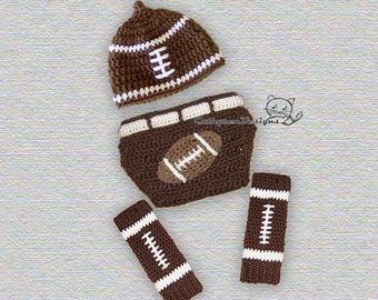 Baby Football Hat, Diaper Cover and Leg Warmers - INSTANT DOWNLOAD Crochet Pattern