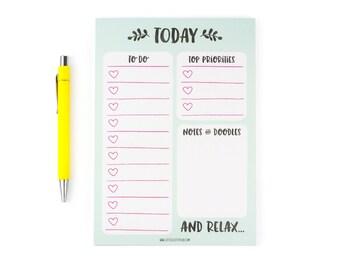 A5 Desk planner notepad, to do list, to-do, notepads, deskplanner, littleleftylou, stationery, writing pad, mint notepad, memopad