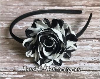 Black and White Shabby Chic Satin Wrapped Headband, Toddler Chevron  Flower Headband, Girls Headband, Basic Hard Headband, Hair Accessory