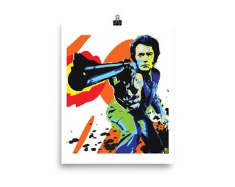 Dirty Harry Clint Eastwood Home Decor Wall Art Pop Art Print