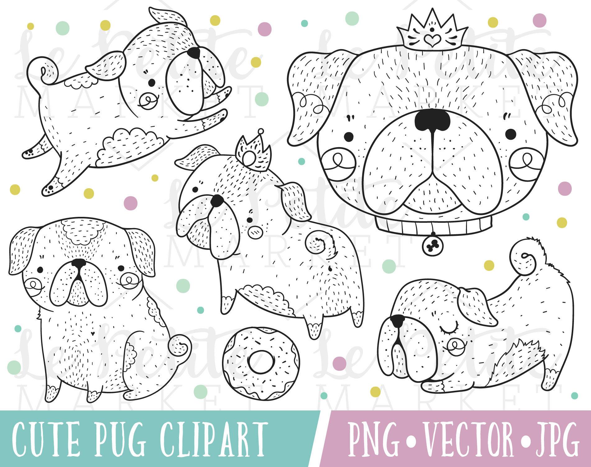 Mano dibujada Pug Digital sellos lindo imágenes prediseñadas
