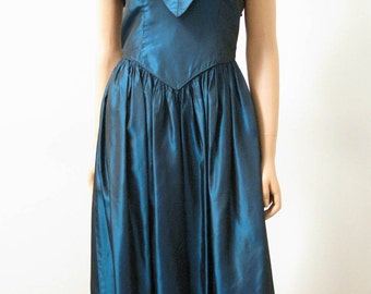 Blue 1980s Prom Dress - Vintage Taffeta Formal Gown S FREE US Shipping