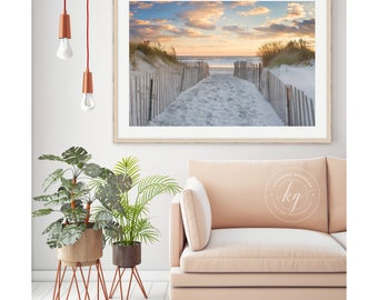 Beach Path Photo, Large Beach Panorama, Rhode Island Photography, Newport RI Photograph, Ocean Sea Artwork, Dunes Sunset Picture Blue Orange