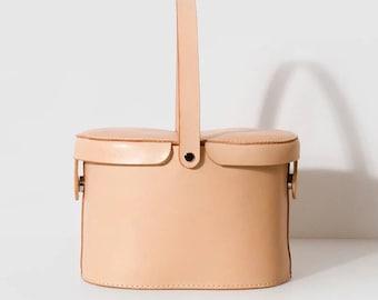 SALE Handmade Leather Bag, Leather Bucket Bag, Leather Basket Bag, Handbag,  Shopping Bag with Vegetable Tanned Leather and inner bag