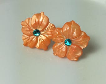 Mother of Pearl Flower and Swarovski Crystal Earrings in Orange and Blue Zircon