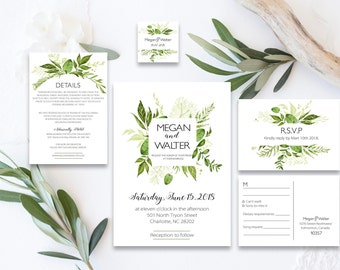 Green Wedding Invitation, Wedding Invitation Template, Forest Wedding Suite, Outdoor Wedding Invites, Garden Wedding, Light, invitation