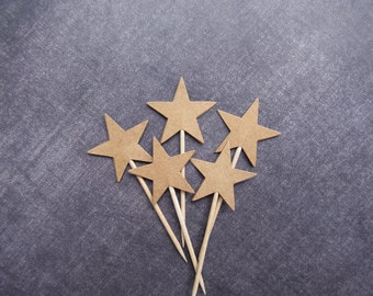 24 Kraft Star Cupcake Toppers, Double-Sided, Party Decor, Rustic, Woodland, Wedding, Shower, Birthday, Graduation