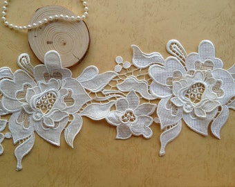 Elegant Ivory Roses Lace Trim Venice Bridal Embroidered Lace 5.9 Inches Wide 1 Yard