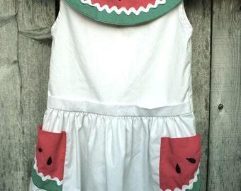 Vintage 70s 80s Girls Watermelon Collar Summer Dress size 6X