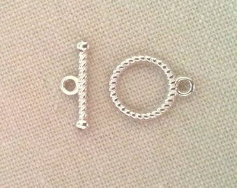 toggle, silver metal T10 10 clasps
