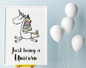 A4 and A3 UNICORN wall art, kids print, nursery decor, magical, funny gift, print or framed print available in request