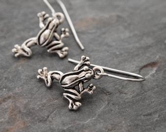 Frog Earrings, Frog Jewelry, Silver Frog Earrings, Frog Lover gifts
