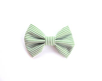 Green and White Striped Bow Tie - Fabric Bow Hair Clip or Bow Tie - St. Patrick's Day Bow  -  Green Hair Bow - dainty and Dapper