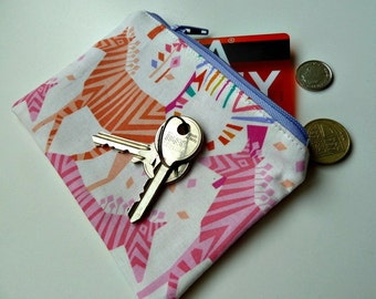 Zebra coin purse, handmade fabric pouch, zipped bag, cosmetic storage