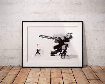 Metal Gear Solid Inspired Print, Metal Gear, Gamer, Poster, Art, Art Print, Wall Art, Geeky