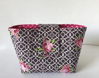 Taschenordner Organisator Organizer Fächertasche Rosen pink grau