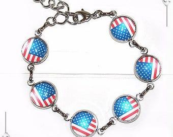 "Bracelet Cabochon ""Born In The USA"""