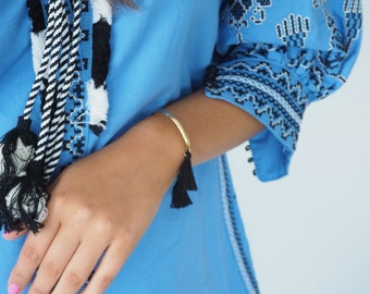 Double Tassel Gold Plated Bangle/Cuff