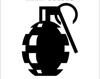Hand Grenade Vinyl Car Truck Decals, Lap Top Sticker Graphics Choice of Colors