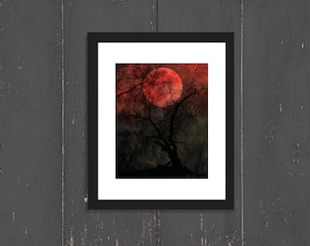 BLOOD MOON Photo Surreal Full Moon Art Print Halloween Creepy Tree Moon Night Forest Print Black and Red Forest Photography