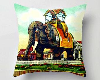 Elephant Pillow Cover, New Jersey Gift, Elephant Throw Pillow, Elephant Gift, NJ Gift, Jersey Girl Gift Elephant Hotel Margate City NJ Lucy